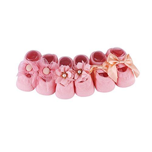 3 paar/set katoen anti-slip kant bloem vlinderdas vloer sokken voor baby peuter kind M(1-3岁) roze