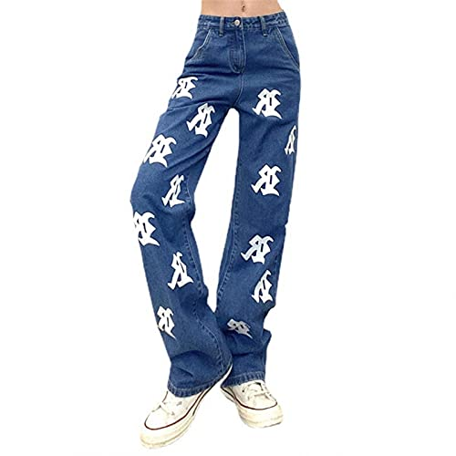 Hotkey Y2K Fashion Pants for Women High Waisted Wide Leg Corduroy Pants Straight Denim Jeans Casual Baggy Trousers