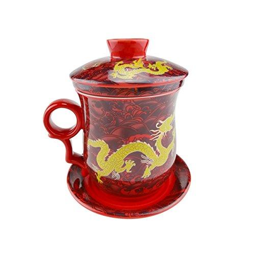 Gelber Drache Muster Chinesische Tee Tasse, Handgemachte Bone China Tee Becher Rot Tee Cup Mit Filter, Deckel Und Untertasse,Für Geschenk Und Haus, Büro 300Ml