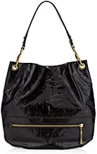 orYANY Lucy Croco Embossed Patent Leather Black Large Hobo Tote