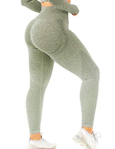 TSUTAYA Seamless Leggings High Waisted Women's Yoga Pants Workout Stretchy Vital Activewear Tummy Control Leggings Military Green, S