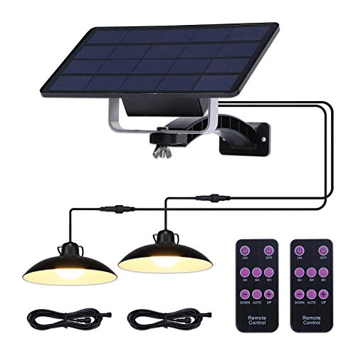 ENCOFT Lampadario Solare Esterno con Telecomando Manuale, Dimmerabile Lampada a Sospensione Solare 32LED Impermeabile IP65, Illuminazione Solare Separabile 3m per Giardino, 2 Luci Bianco Caldo
