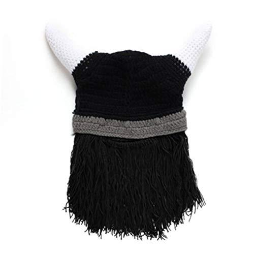 Yunt-11 Gorro de Barba brbaro, Gorro de Punto y Disfraz de Barba Falsa, Sombreros de Barba Plegables, Cuernos de Vikingo, Gorros de Punto Deportivos con Barba