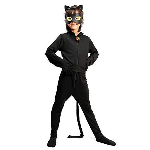 ALBRIGHT Kids Festivo Jumpsuit Cat Noir Cosplay Disfraces Fiesta de Carnaval Navidad Halloween, Mono de Cat Noir para niños con máscara de Ojo y Bolso (5-6 años)