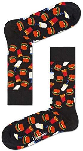 Happy Socks Unisex Hamburger Sock, Schwarz, 41-46