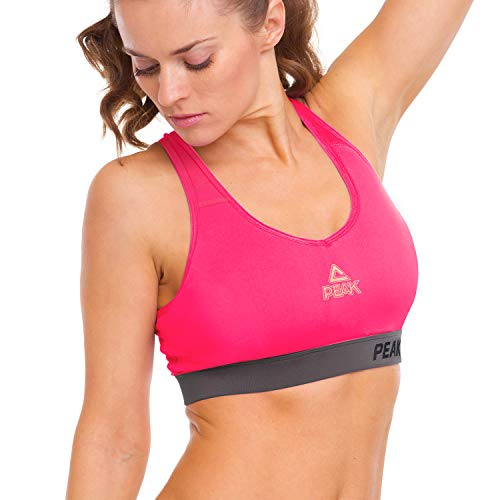 PEAK Womens Racerback Sports Bras, High Impact Seamless Gym Activewear Bra, Padded Removable Home Workout Yoga Bras White