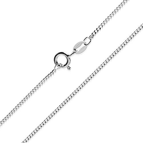 Collar cadena pulsera tobillera Tipo Barbada Panzer corte de diamante de fina plata de ley 925 1mm Bisutería Italiano Mujer Hombre - 15 20 25 30 35 40 45 50 55 60 65 70 75 80 85 90 95 100cm