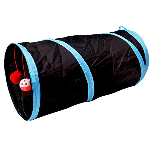iCAGY Cat Tunnel for Indoor Cats Interactive, Rabbit Tunnel Toys, Pet Toys Play Tunnels for Cats Kittens Rabbits Puppies Crinkle Collapsible Pop Up Black 20'