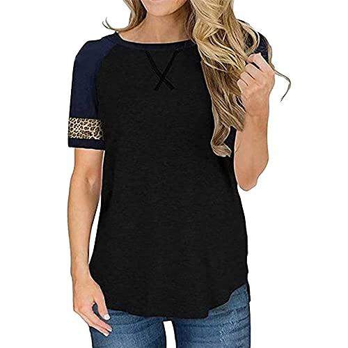 Camiseta de Verano para Mujer Camisas básicas de Manga Corta Tops de Retazos Blusa asimétrica Túnica Costuras Contraste Tops con Estampado de Leopardo de Manga Cuello Redondo Camisa Informal básica