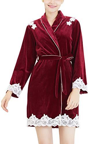 YAOMEI Kimono Albornoz para Mujer, Invierno Terciopelo Cordón Camisón Robe Albornoz Dama de Honor Ropa de Dormir Pijama, para SPA Hotel Sauna con Bolsillo (Large, Rojo)