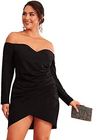 Romwe Women s Plus Size Sexy Off Shoulder Wrap Sweetheart Pleated Front Party Mini Bardot Dress product image