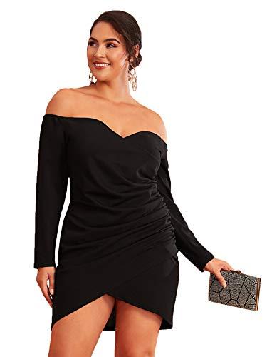Romwe Women's Plus Size Sexy Off Shoulder Wrap Sweetheart Pleated Front Party Mini Bardot Dress Black 1X Plus