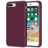 Anuck Case for iPhone 8 Plus Case, for iPhone 7 Plus Case 5.5 inch, Soft Silicone Gel Rubber Bumper Case Microfiber Lining Hard Shell Shockproof Full-Body Protective Case Cover - Wine Red