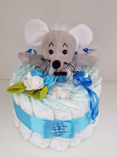 Windeltorte mit Maus blau, Geschenk zum Geburt, Taufe, Babyparty Junge, Windeln