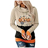LU1999 Women's Halloween Hoodie,Halloween Smiley Printed Long Sleeve Top Hoodie,Ladies Halloween Costume Hooded,Women Halloween Fashion Loose Drawstring Hoodie for Casual Travel Daily (E, XL)