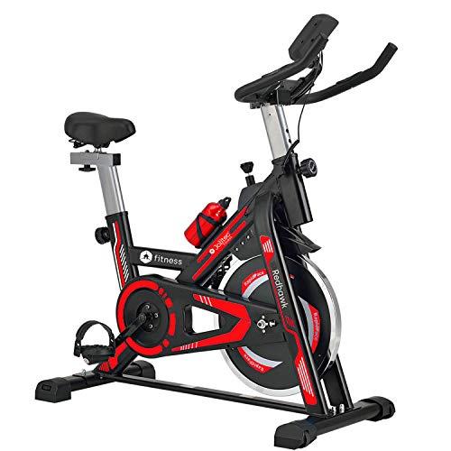 Bicicleta spinning RED HAWK con volante de inercia de 13 kg, microcomputador con función scan, manillar y sillín ajustables