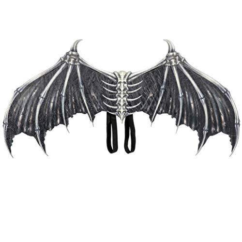Amosfun Halloween Cosplay Flügel Dämon Knochen Flügel mit elastischen Trägern verkleiden Sich Kostüm Cosplay Zubehör für Halloween Karneval Party Dekoration (schwarz)