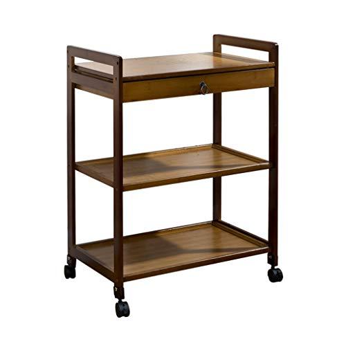 Tables basses Chariot à thé canapé Amovible Petite étagère à thé Armoire de Rangement côté Salon Petite Table à thé (Color : Brown, Size : 59 * 33 * 80cm)