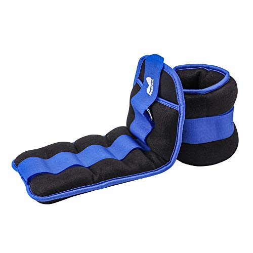 REEHUT Ankle Weights, Durable Wrist Weight (4 lbs Pair) Adjustable Strap for Fitness, Exercise, Walking, Jogging, Gymnastics, Aerobics, Gym - Blue - 2 lbs Each