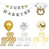 HONGECB Juego de decoración de boda, Boda Globo, Just Married Banderín, Látex Globos Blanco Decoración, globos anillos y confeti, guirnalda de banderines por Boda Proponer Decoración