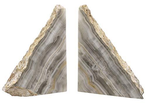 Buchstützen aus echtem nordamerikanischen Aragonit, 17,1 cm hoch, aus grauem Stein geschnitzt – The Artisan Mined Serie von hBAR