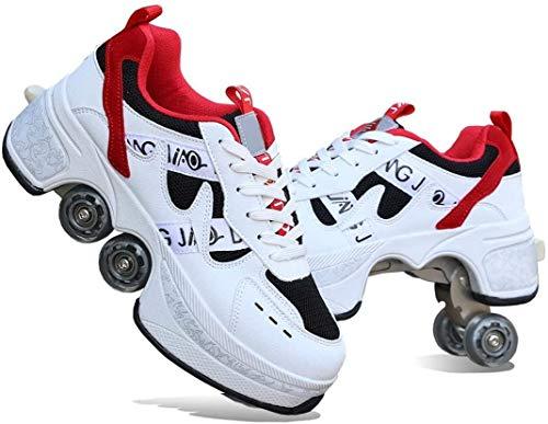 Zapatos Deformación Multifuncionales Deformación con Rueda Deformación Doble Fila para Zapatos Patinaje Deportes Al Aire Libre Masculinos Y Femeninos,Red-41