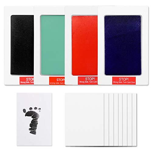4er Pack Baby Footprint Kit, berührungsloses Inkless Baby Handprint Kit, Einweg-Babyhand und Footprint (15 x 10 cm)