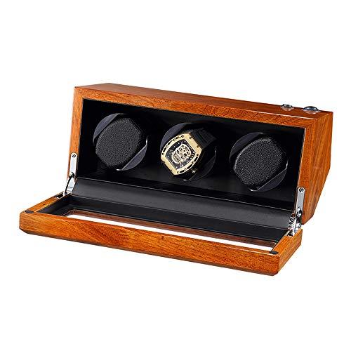 AYYEBO Caja Enrolladora Reloj para 3 Relojes Automáticos Madera Maciza Natural Motor Silencioso Almohada Reloj Suave y Flexible 5 Modo Rotación (Color : Black)