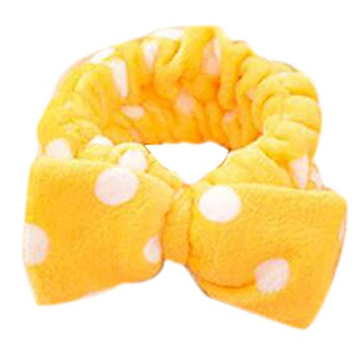 Jingyuu Haarbänder, Vintage, elastisch, bedruckt, mit Kopf, dehnbar, feuchtigkeitsspendend, niedliches Haarzubehör, Baumwolle, gelb, 15*14*5CM