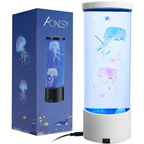 Quallen Stimmungs Lampe, Quallen Lampe, LED Fantasy Desktop Runde Quallen Lampe, Für Die Dekoration USB-Ladevorgang Farbe Nachtlicht, Aquarium Stimmungslampe (Weiß)