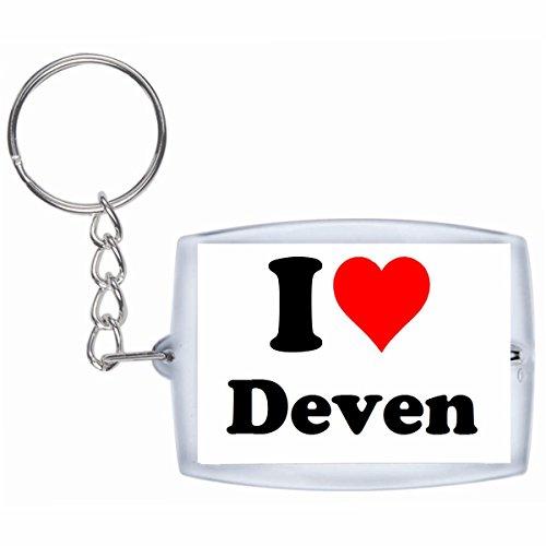 Druckerlebnis24 Schlüsselanhänger I Love Deven in Weiss - Exclusiver Geschenktipp zu Weihnachten Jahrestag Geburtstag Lieblingsmensch