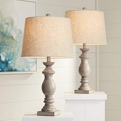 Patsy Traditional Table Lamps Set of 2 Beige Washed Fabric Tapered Drum Shade for Living Room Bedroom Bedside Nightstand Office Family - Regency Hill