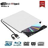 Lecteur Graveur Blu Ray Externe CD DVD 3D,USB 3.0 Portable Lecteur Blu-Ray Slim BD CD DVD-ROM ROM Compatible pour PC Mac OS Windows 7/8 /10 /XP/Linxus