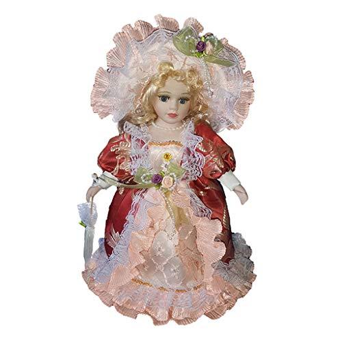 Sharplace Puppenhaus Miniatur Viktorianische Mädchen Porzellan Puppe im Bekleidung Mit Display Ständer - 30cm - # D