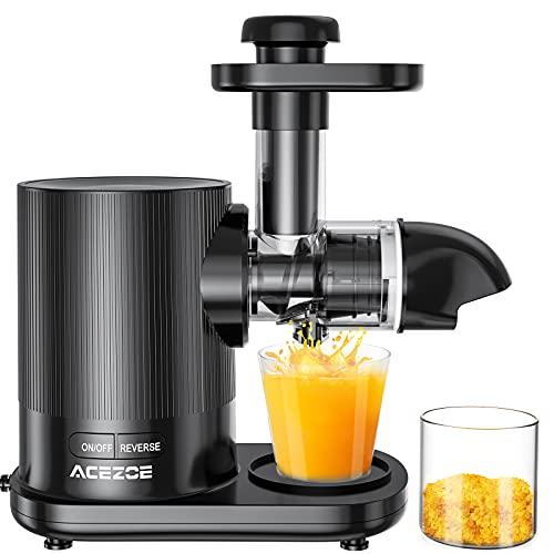 Extracteur de Jus, Acezoe Slow Juicer Presse à Froid Machine avec moteur silencieux, Sans BPA, 2 Filtres/Tasse à Jus/Brosse de Nettoyage, Adapté à Tous Les Fruits & Légumes