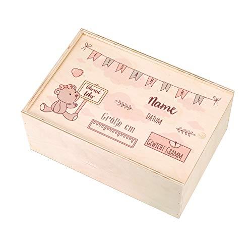Striefchen® Holzbox zur Erinnerung an das erste Babyjahr oder als Geschenk zur Geburt - mit Namen des Kindes und Geburtsdaten bedruckt Mädchen