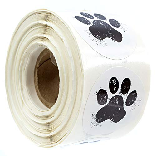 """1.5"""" Round Paw Print Stickers / 500 Dog Paw Print Labels Per Roll"""