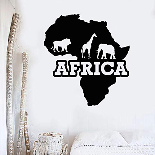 SUPWALS Pegatinas de pared Animales Salvajes Etiqueta De La Pared Silueta Jirafa Elefante León Continente Africano Artista Estudio Dormitorio Decoración Del Hogar Pegatinas De Vinilo 42X45 Cm
