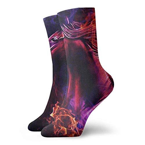 Hangdachang Socken für Damen und Herren, rotes Pferd, 30 cm lang