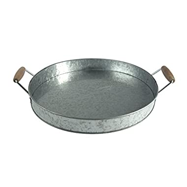 Artland Oasis Round Galvanized Metal Party Serving Tray with Wooden Handles, 19.5  x 16  x 2