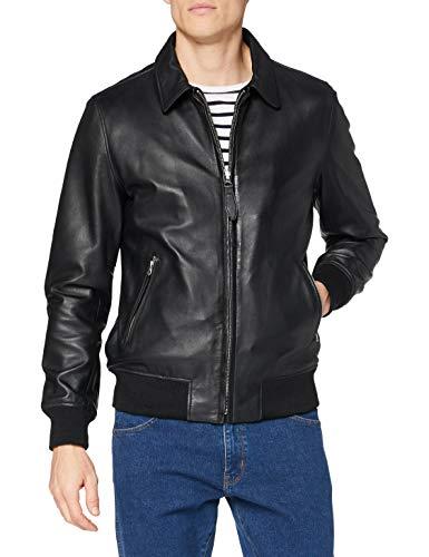 Schott NYC Veste Classique Bord Cote Giacche di Cuoio, Black, XXL Uomo