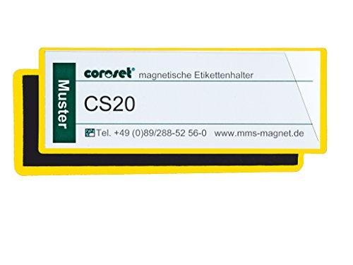 Magnetische Etikettenhalter/Etikettenträger/Etikettenhüllen/Einstecktaschen für Papieretiketten, gelb (100 St, 97 x 30 mm)