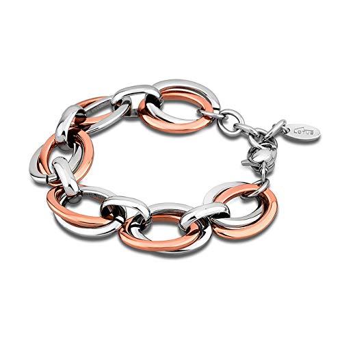 Lotus Style–Pulsera de acero inoxidable ovalada chapada en oro rosa, para mujer–JLS1616–02–3