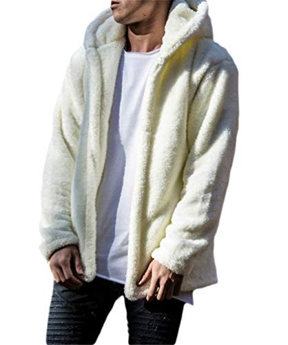 Nicetage Mens Fuzzy Sherpa Fleece Hooded Jackets Open Front Cardigans Hoodie Coats Jacket Overcoat (HS135-135 White M)