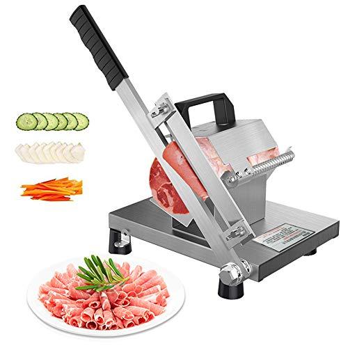 ZCM-JSDTWS Cortafiambres Manual Pequeno, Cortafiambres de Acero Inoxidable El Grosor de la Rebanada Puede ser Ajustable para Cortar Embutidos Cortador de Carne de Cordero para Cocina
