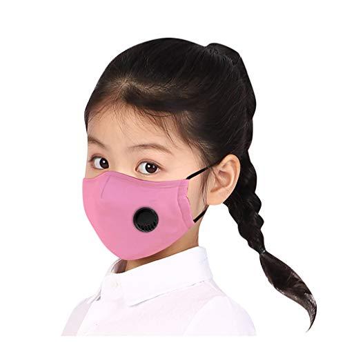 Supertong Kleinkinder Kinder Baumwolle Einfarbige Mundschutz Tägliche Pflege Staubdicht Gesichtsschutz Wiederverwendbar Waschbar Atmungsaktiv Face Shield mit Atemventil (Rosa)