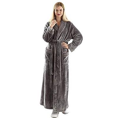 Full Length Fleece Robe Cozy Plush Long Warm Bathrobe with Waist Belt for Womens