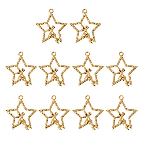 ZJL220 - Lote de 10 colgantes con forma de hada y estrella, resina, diseño de estrella