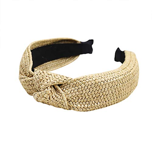 Lovely Hand-Woven Raffia Holiday Headband Headdress Hair Band Simple Sweetly Hairpin, Elegant Knotted Bow Tie Headwear Lady, Best Gift for Girl to School, Dating, Travel &Outdoor (Yellow (C))