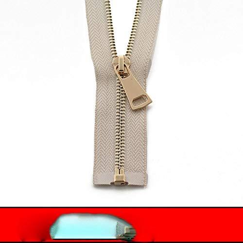 5# 60/70/80/90/100/120/150 cm cierre de metal con cierre automático de extremo abierto oro rosa para coser cremalleras de ropa-Beige, 5#, 90cm
